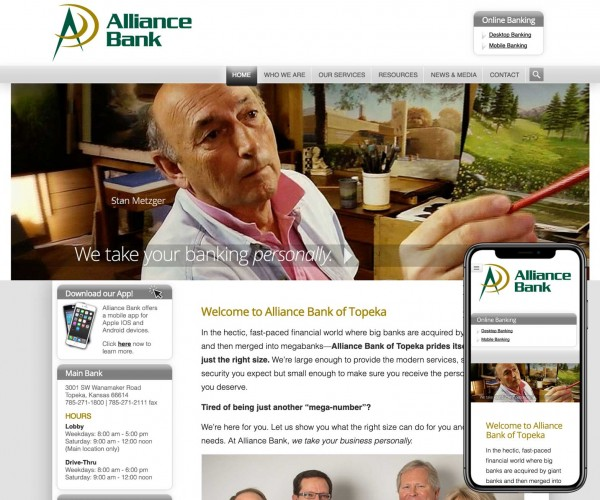 Umbrella website for Alliance Bank.