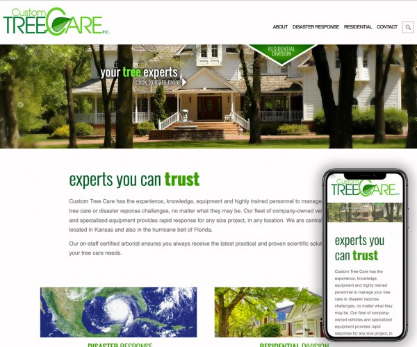 Umbrella website for Custon Tree Care.