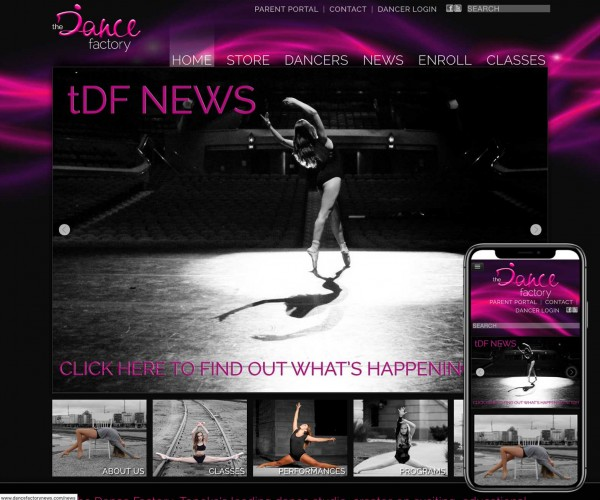 Umbrella website for The Dance Factory.
