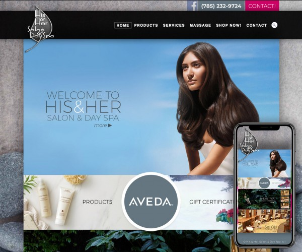 Umbrella website for His & Her Salon & Dayspa.